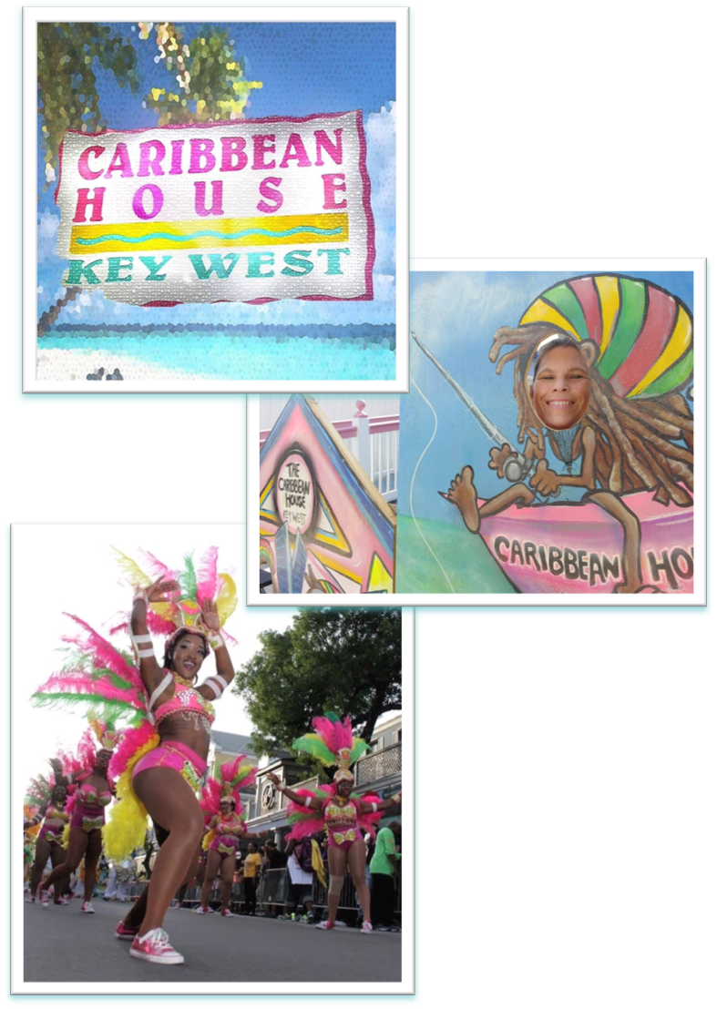 Caribbean House signage, Mari in streetside cutout and Goombay parade dancer.