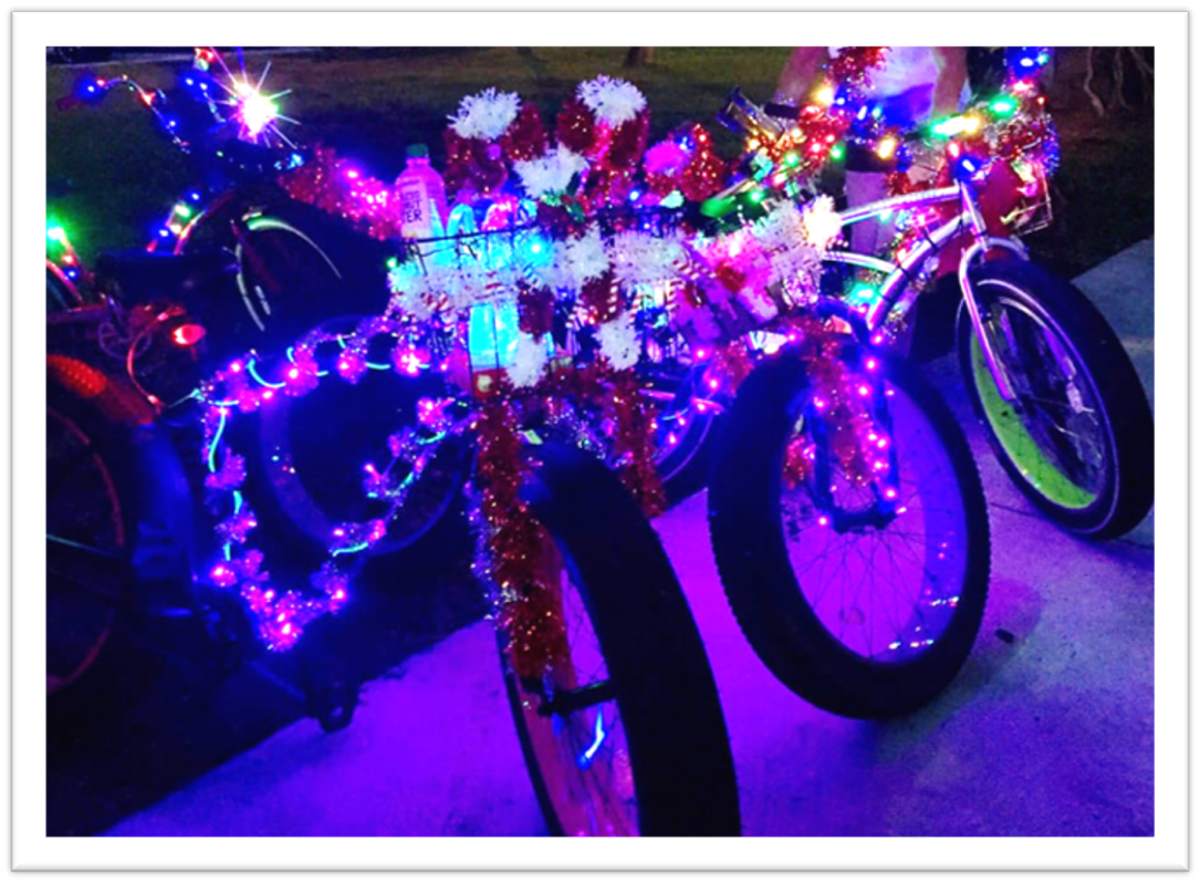 Bicycles decorated in lights for Lighted Bike Parade.